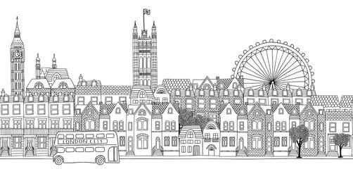 Seamless banner of London's skyline, hand drawn black and white illustration