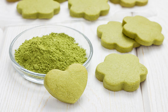 Homemade matcha green tea shortbread cookies