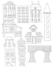 Set Of Doodle City Buildings Structures Line art No fill Bridge House Apartment