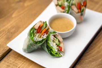 Vietnamese Spring Rolls Appetizers. These are great as an healthy appetizer or lunch. Served with peanut butter sauce.