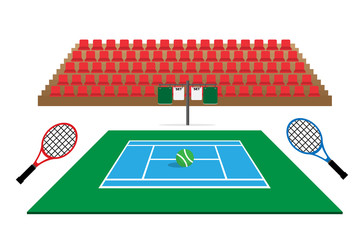 tennis court with stadium seats and retro scoreboard