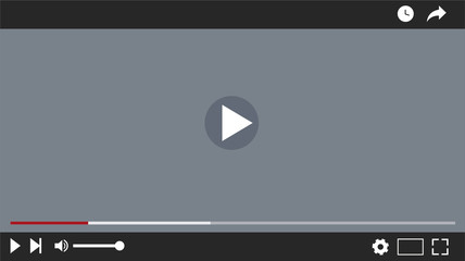 video player interface, vector lillustration, flat design