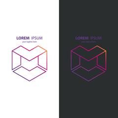 Letter M line design logo icon. Vector illustration.