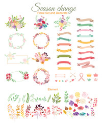 Wedding graphic set. FLOWER DESIGN ELEMENTS. Frames, labels, ribbons, symbols. Brand & identity elements such as logo.