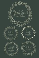 Wedding graphic set. FLOWER DESIGN ELEMENTS. Frames, labels, ribbons, symbols. Brand & identity elements such as logo.