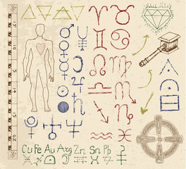 Set with zodiac and mystic signs, emblems and symbols