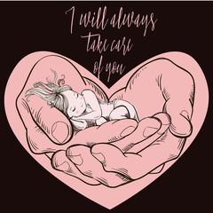 little girl sleeping in big hands
