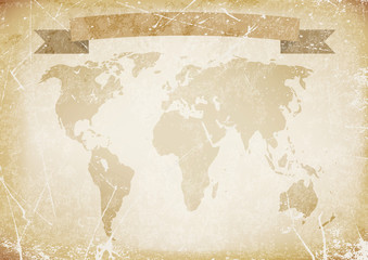 background old paper with word map,banner.vector illustration