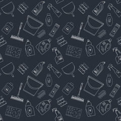 Outline seamless cleaning products and equipment background pattern.