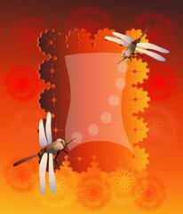 поздравительная открытка с одуванчиками и стрекозами