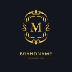 Luxury Vintage logo. Business sign, label, Letter emblem M for badge, crest, Restaurant, Royalty, Boutique brand, Hotel, Heraldic, Jewelery, Fashion, Real estate, Resort, tattoo, Auctions. Vector