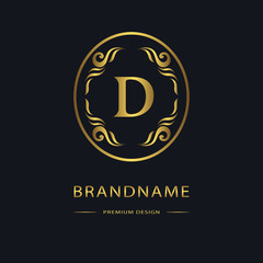 Luxury Vintage logo. Business sign, label, Letter emblem D for badge, crest, Restaurant, Royalty, Boutique brand, Hotel, Heraldic, Jewelery, Fashion, Real estate, Resort, tattoo, Auctions. Vector