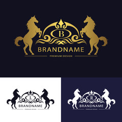 Monogram logo emblem template with horse. Graceful Luxury design. Calligraphic letter B, L, R Business sign for hotel, restaurant, boutique, invitation, jewelery, royalty brand. Vector illustration.