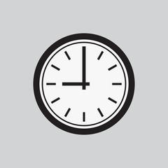 Clock icon. Web sign flat Black and white design, button app. Vector illustration