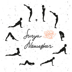 Vector illustration of yoga exercise Sun Salutation (Surya Namaskara).