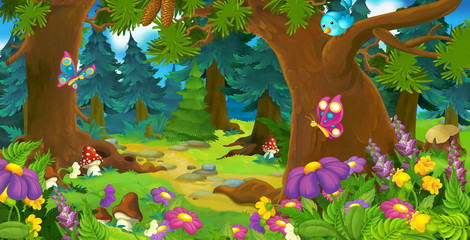 Cartoon forest scene - illustration for children