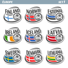 Vector logo for European football, soccer Finland, Norway, Estonia, Ireland, Iceland, Latvia, Sweden, Denmark, Lithuania, set 9 isolated illustrations: state flags, soccer balls. Championship Euro