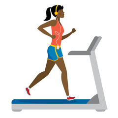 Fit african american girl running on treadmill on white.