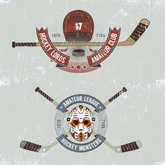 Hockey logos in grunge style. Logos for hockey events, teams with sticks, helmets, ribbons and labels.Grange layer can be easily removed.