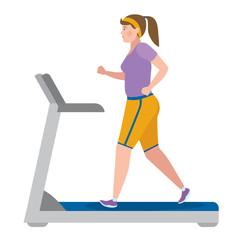 Girl running on treadmill on white.