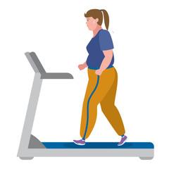 Fat girl running on treadmill on white.