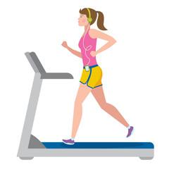 Fit girl running on treadmill on white.