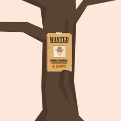 Wanted Poster on a Tree