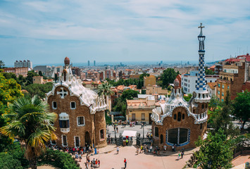 BARCELONA, SPAIN - JUNE 26: The famous Park Guell on June 26, 2014 in Barcelona, Spain. The impressive and famous park was designed by Antoni Gaudi.