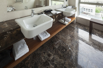 Modern bathroom interior with double sink and view