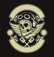 Motor skull emblem. Vector flat illustration