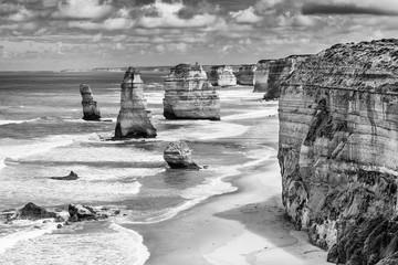 Twelve Apostles rock formations, Great Ocean Road, Victoria, Australia. Black and white image.
