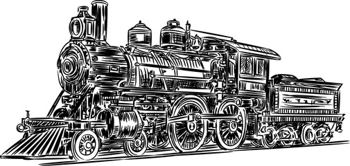 Vector-locomotive Vector sketch black and white illustration of old steam train.