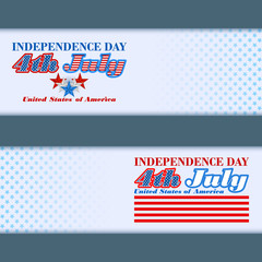 Abstract, design web banners with stars and strips for 4th July Independence day and National celebration of America