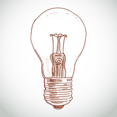 idea lightbulb sketch on white background. vector