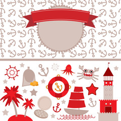 cute sea objects collection. Vintage scrap nautical card with frame, anchor pattern and sea animals, boats pirates. Vector