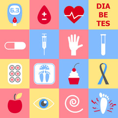 Diabetes icons set. World Diabetes Day. Glucose meter. Blood drop. Symbol of diabetic and fight against diabetes. Medical flat illustration. Health care