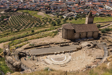 Ancient Roman theater in Medellin. Extremadura. Spain.