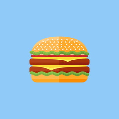 Double hamburger flat icon on blue background. Burger with salad, tomatoes, cheese and cutlet. Fast food. Vector illustration.