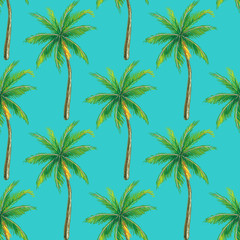 Summer seamless pattern with palm tree.Tropical beach nature vector illustration. Perfect for wallpapers, pattern fills, web page backgrounds, surface textures, textile
