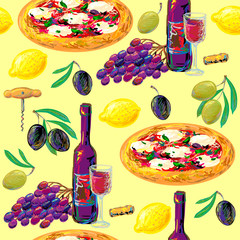 Italian seamless pattern with pizza, wine, lemon, olive, grape vector illustration. Perfect for wallpapers, pattern fills, web page backgrounds, surface textures, textile