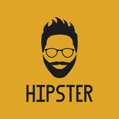 Hipster label badge or logo. Fashion black silhouette on yellow background.