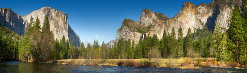 Yosemite valley and merced river Wall mural