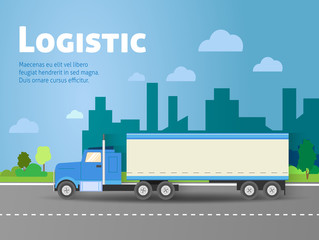 Design for banner, truck. Color flat icons. Dump truck, tank, gasoline, truck, container, delivery, city, logistics. Vector illustration
