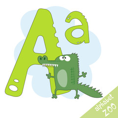 Hand drawn letter A and funny cute alligator. Children's alphabet in cartoon style, vector illustration.