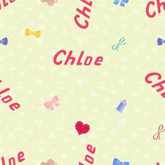 Seamless background pattern name Chloe of the newborn