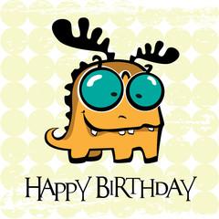 Happy Birthday card monster deer