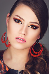 Girl with bright makeup