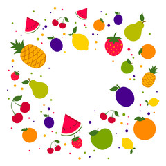 Vector Illustration of a Colorful Fruit Background
