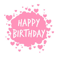 Vector Illustration of a Happy Birthday Greeting Card with Hearts