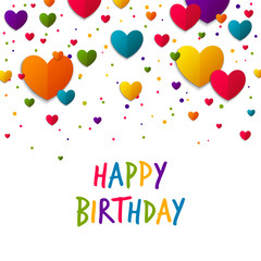 Vector Illustration of a Happy Birthday Greeting Card with Colorful Hearts